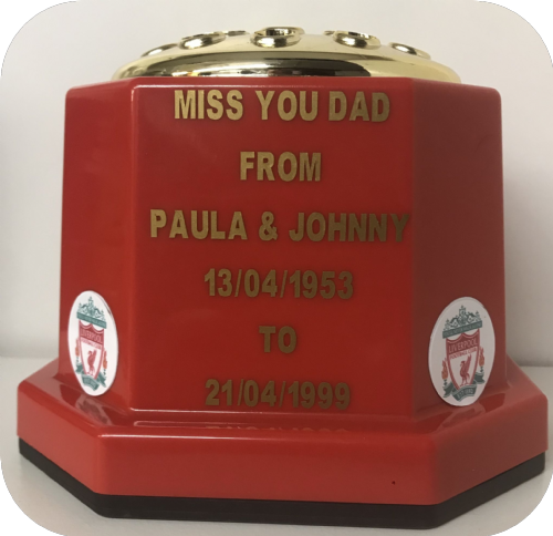 Liverpool F. C.  football personalised Grave pot 50p red